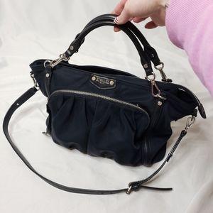 M.Z. Wallace navy zip top shoulder bag
